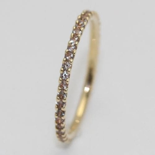 14K Yellow Gold Shared Prong Eternity Band with Pale Pink Sapphires